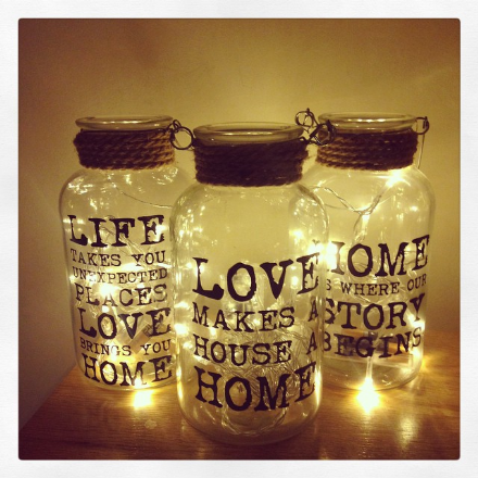 Glass Slogan Jar Vase With Twine And Wire Handle (Medium)